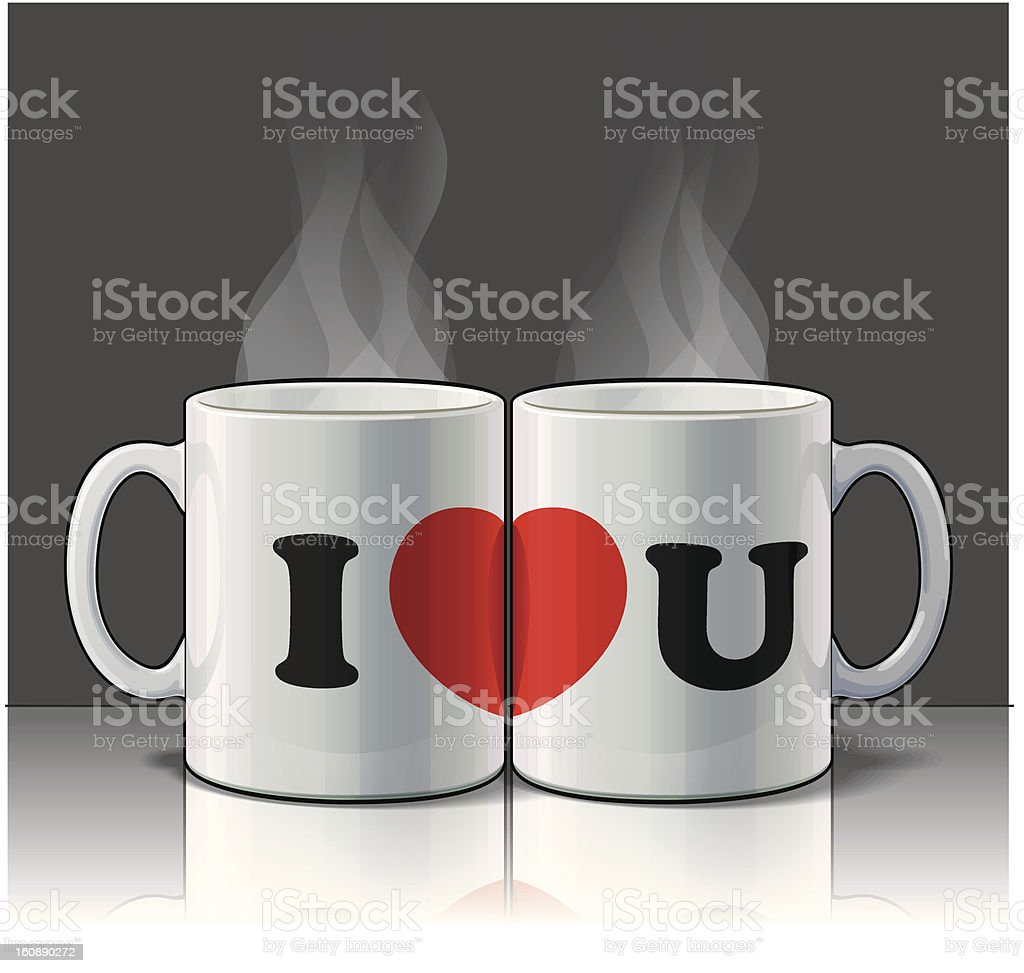 I Love You Mugs royalty-free stock vector art