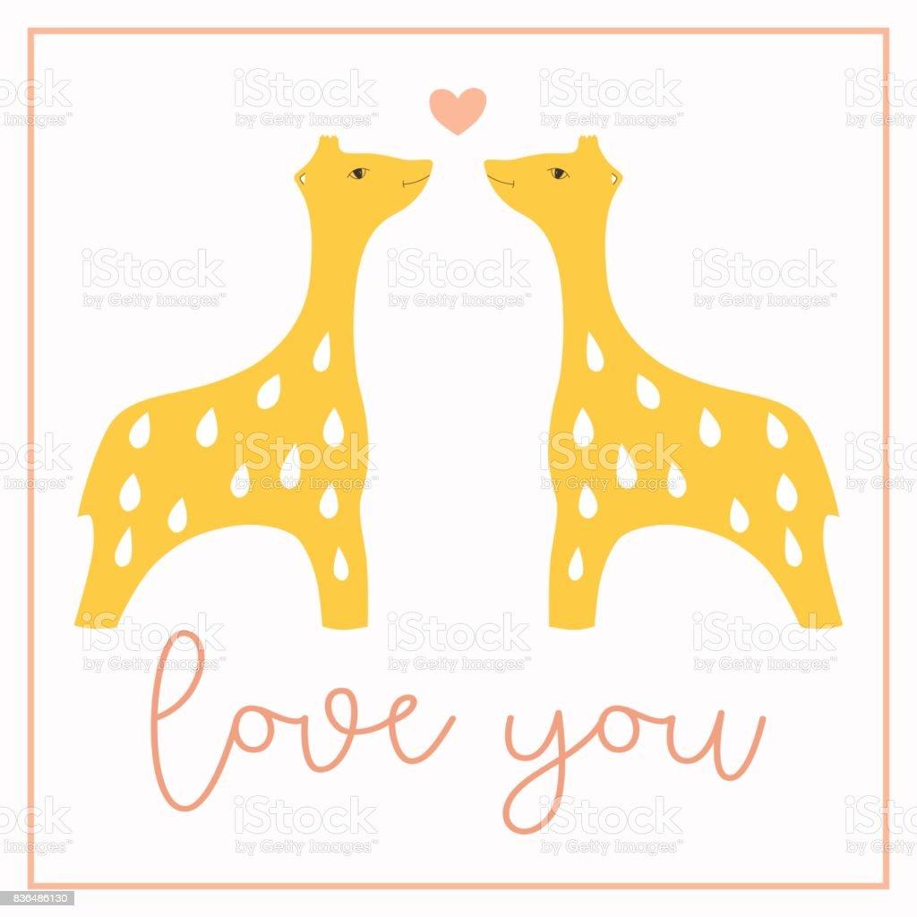 Ich Liebe Dich Postkarte Mit Zwei Giraffen In Einen Rahmen Mit ...