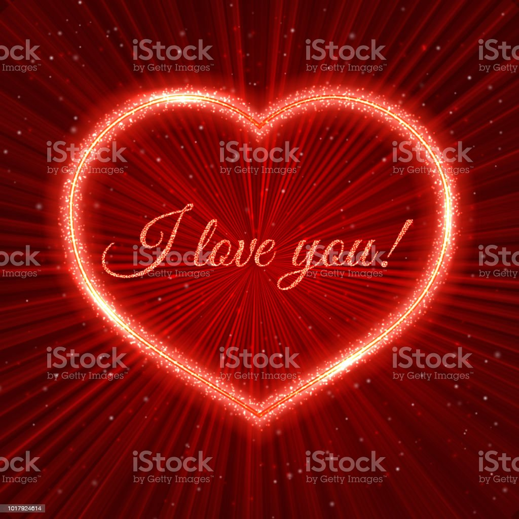 I Love You Red Valentines Day Greeting Card With Sparkling Heart On