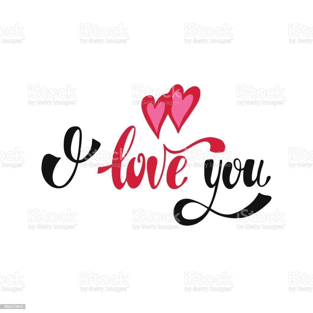 I Love You Romantic Handwritten Phrase Stock Illustration ...