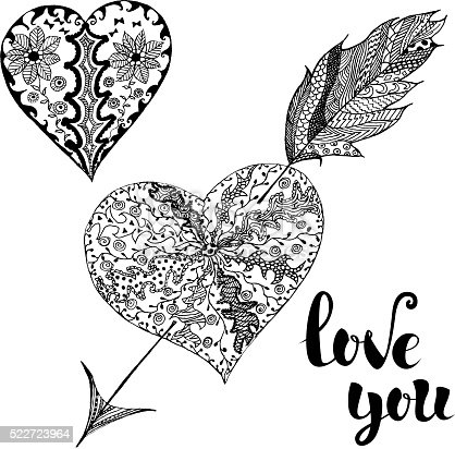 Love You. Set of doodle hearts.