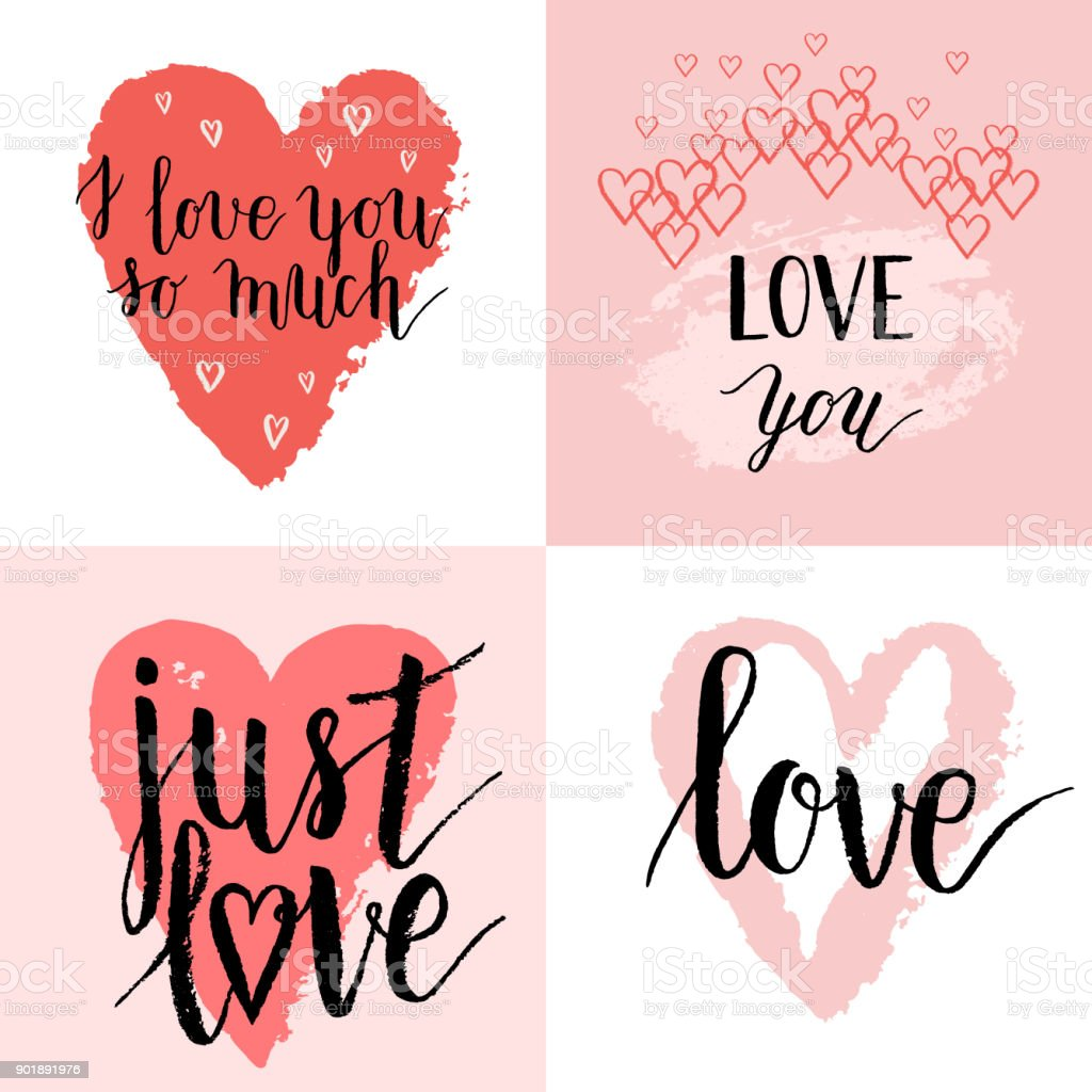 i love you so much just love greeting cards posters set with ink