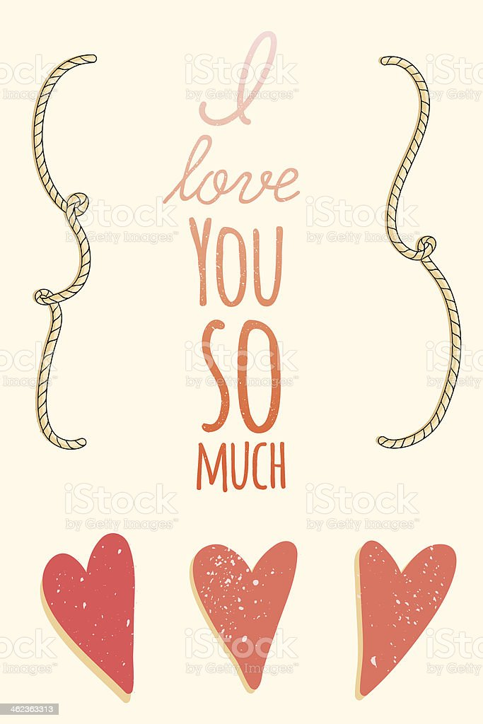 I Love You So Much St Valentines Greeting Card Stockvectorkunst En