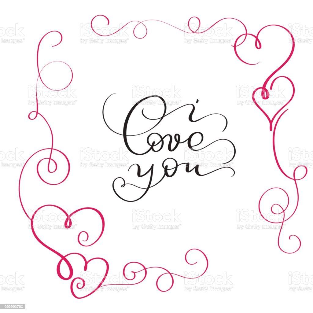 Ich Liebe Dich Text Im Roten Rahmen Mit Herz Stock Vektor Art und ...