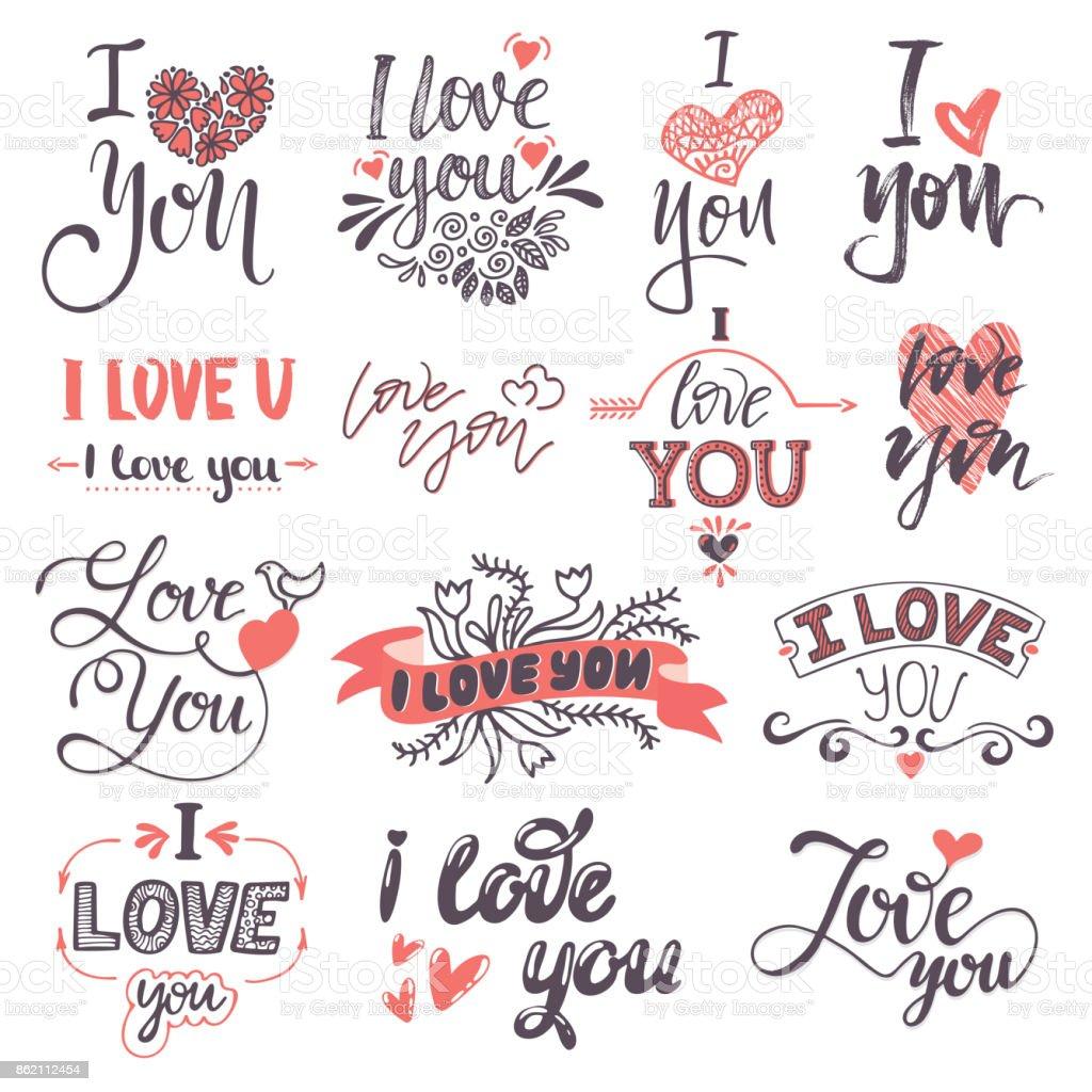 Ilustração De Eu Te Amo Texto Logotipo Frases Dia Dos Namorados Ou