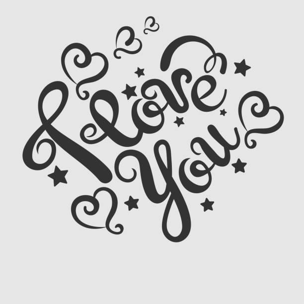 ilustraciones, imágenes clip art, dibujos animados e iconos de stock de i love you texto - tipos de letra de tatuajes