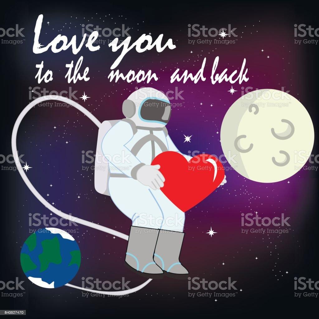 Künstlerisch Ich Liebe Dich Bis Zum Mond Sammlung Von Und Zurück Mit Astronaut Lizenzfreies