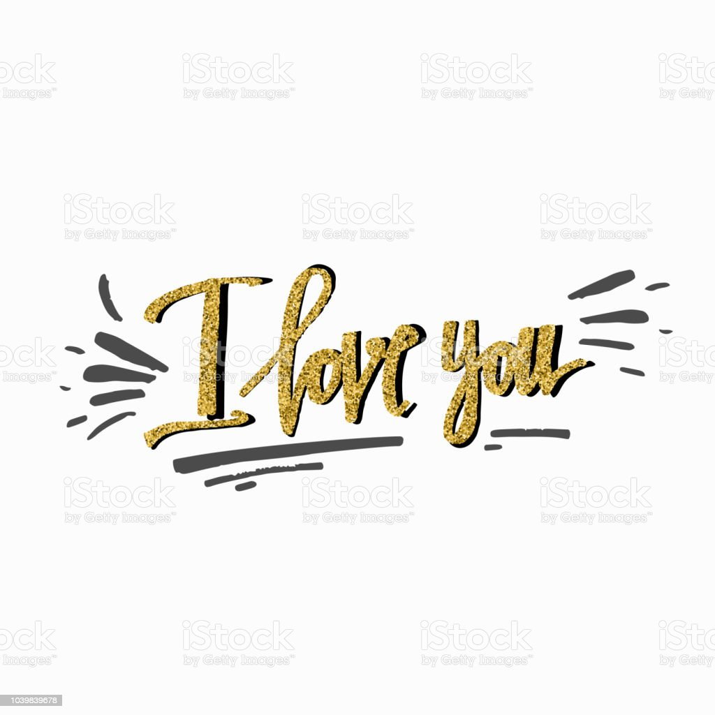 I Love You Valentines Day Greeting Card With Calligraphy And