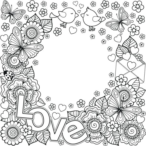 i love you. vector abstract coloring book for adult. design for wedding invitations and valentine's day of abstract flowers, hearts, envelope, arrow, heart, bird, kiss, butterfly. - coloring book pages templates stock illustrations