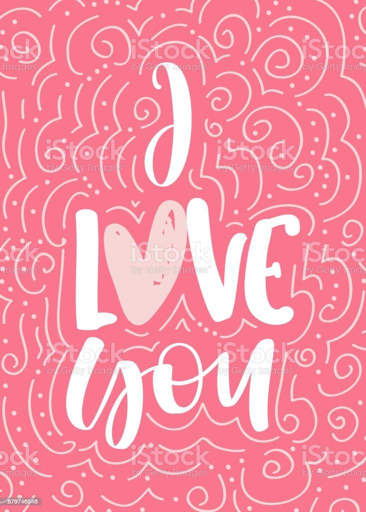 Ilustração De Eu Te Amo Frase De Caligrafia Desenhada Mão Vector