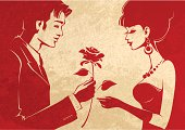 Loving Couple with a Rose - Vector Illustration