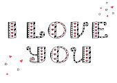 I love you. Vector lettering. Hearts and line. Valentines card