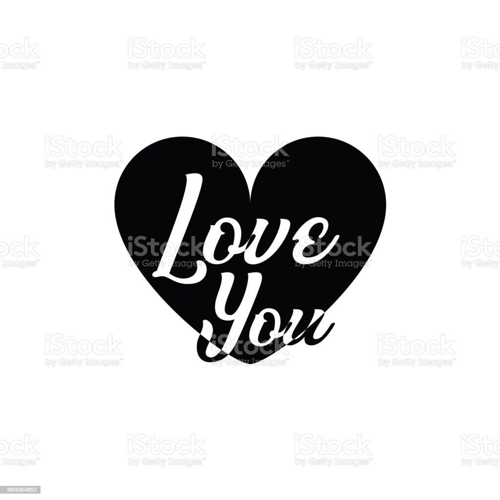 Love You Vector Template Design - Royalty-free Back stock vector