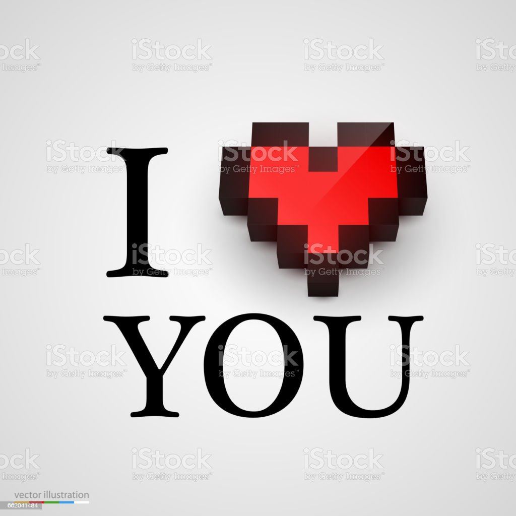 I love you with heart in pixel style. Vector royalty-free i love you with heart in pixel style vector stock vector art & more images of abstract