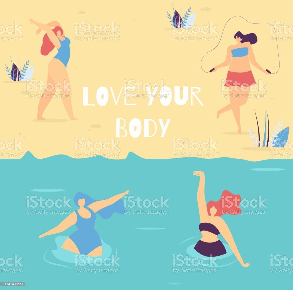 Ilustración De Ama Tu Cuerpo Motivacional Lettering Mujer