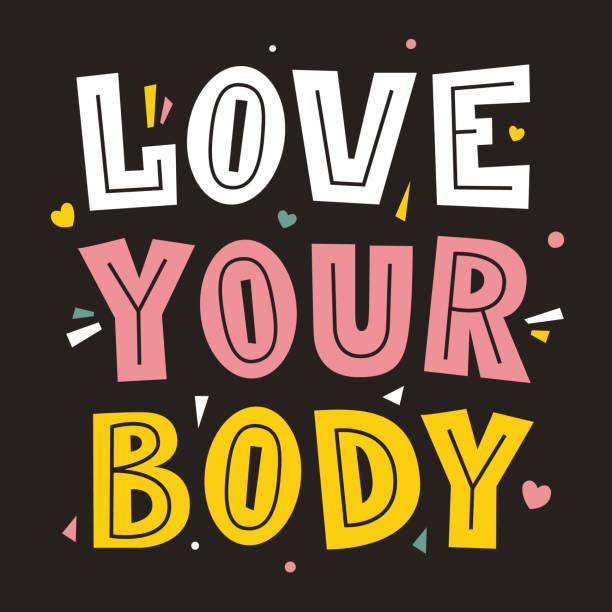liebe deinen körper. - bodysuit stock-grafiken, -clipart, -cartoons und -symbole