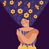 Love yourself, care, acceptance, mental health, happiness, body positive, harmony creative concept. Woman with flowers in hair stands closed eyes and hugs herself. Flat cartoon vector illustrations