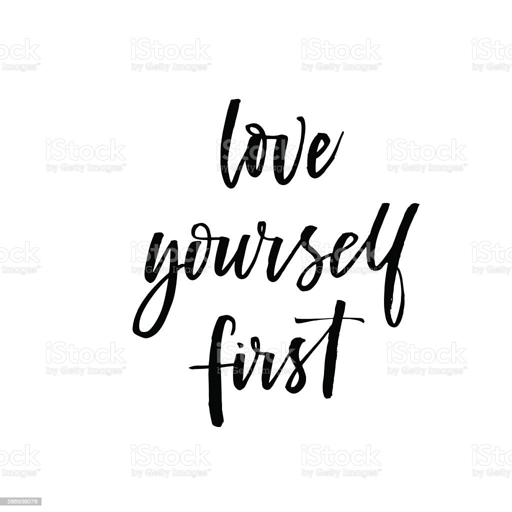love yourself first card stock vector art more images of abstract