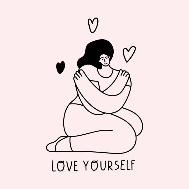 illustrations, cliparts, dessins animés et icônes de aime toi toi-même. fille s'asseyant sur le plancher et se serrez l'étreinte. - femme seule s'enlacer