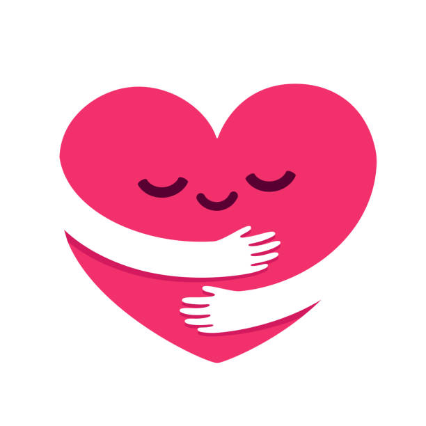 stockillustraties, clipart, cartoons en iconen met liefde jezelf hart knuffel - menselijke ledematen