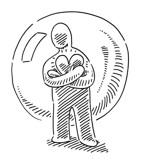 ilustrações de stock, clip art, desenhos animados e ícones de love yourself human figure bubble drawing - coração fraco