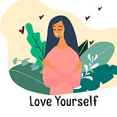Love yourself. Narcissistic, self-confident girl hugged herself. Vector concept card or postcard with smiling young girl with hearts and plants. Cartoon colorful illustration.
