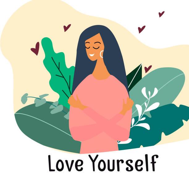 bildbanksillustrationer, clip art samt tecknat material och ikoner med älska dig själv. narcissistisk, självsäker tjej kramade själv. vektorkoncept kort eller vykort med söt leende ung flicka med hjärtan och växter. tecknad färgglad illustration. - unga kvinnor