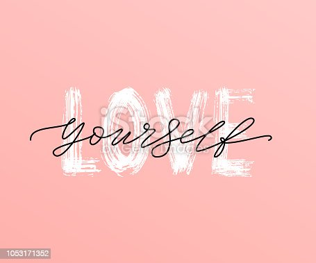 istock Love yourself quote. Single word. Modern calligraphy text print Vector illustration black and white. ego 1053171352