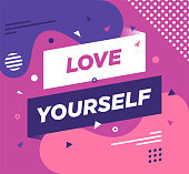 "Trendy abstract banner illustration with ""Love Yourself"" typography. Vector illustration concept for web/mobile pages, social media banners for printed materials"