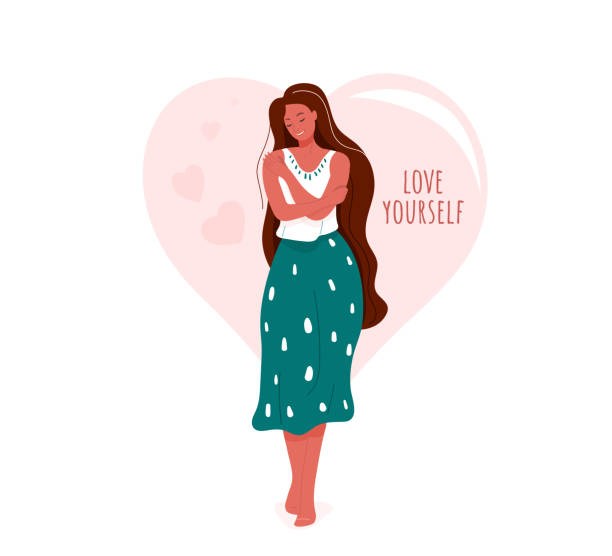 illustrations, cliparts, dessins animés et icônes de aimez-vous l'illustration vectorielle. femme de sourire étreinte elle-même. concept de conception de soin de corps. forme de coeur sur le fond avec des mots inspirants de motivation de texte - femme seule s'enlacer
