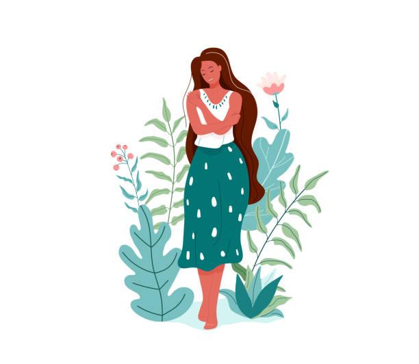 stockillustraties, clipart, cartoons en iconen met hou van jezelf vector illustratie. lachende vrouw knuffelen zichzelf. body care ontwerpconcept. florale natuurelementen - alleen één vrouw
