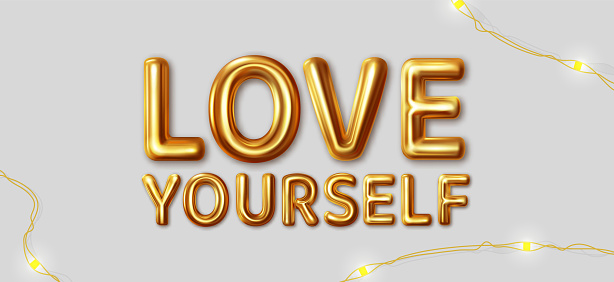 Love yourself. Vector motivational inscription for the best wishes made