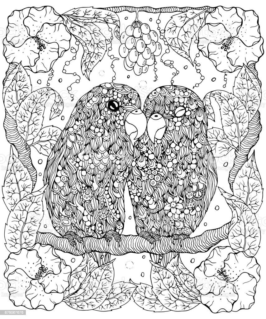 Muhabbet Kuşları Ve Sayfa Boyama çiçekler Stok Vektör Sanatı Beyaz