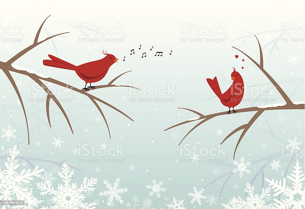 Lovebirds on snowy branches in winter royalty-free stock vector art