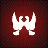 Two doves which form a heart