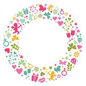 Love symbols with circle. Editable vector Eps8 File.