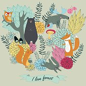 Forest vector with cute forest animals, trees and flowers in cartoon style