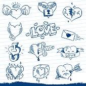 Cute sketchy love-heart doodles.
