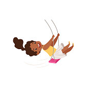 Lovely African American girl swinging on a rope swing, little kid having fun on a swing vector Illustration isolated on a white background.
