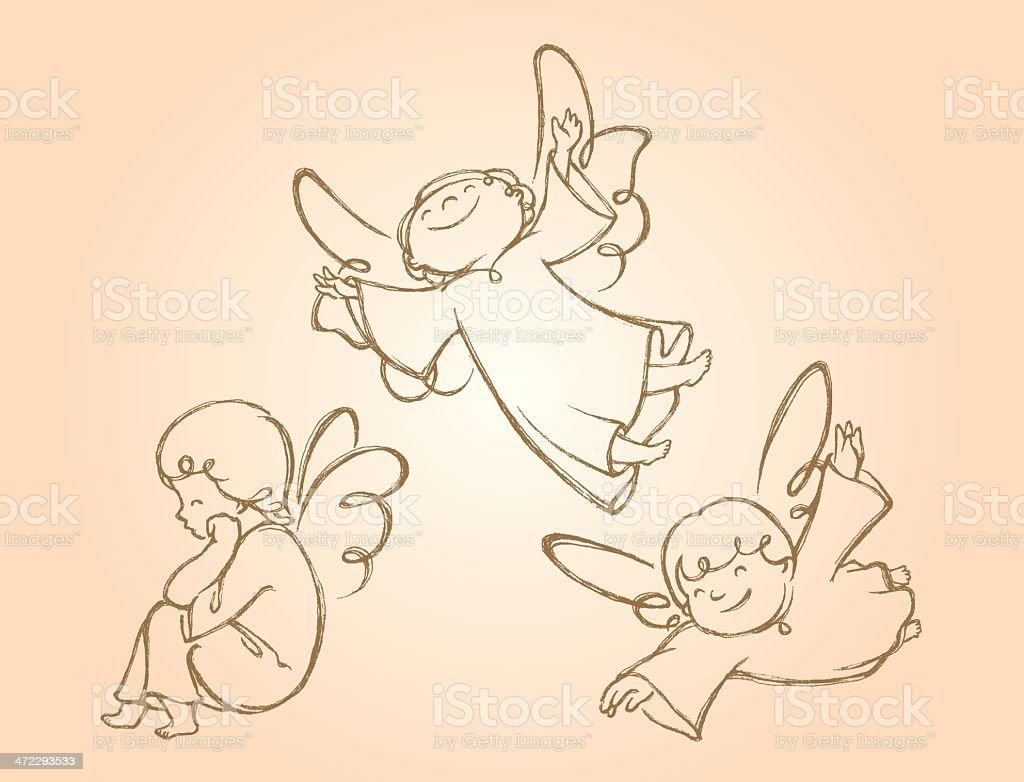 Adorable Angels boceto - ilustración de arte vectorial