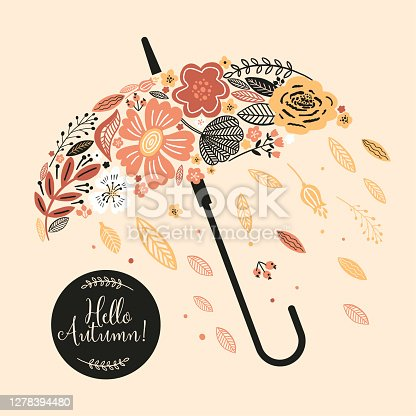 Lovely autumn card with a wreath, flowers, leaves and with the inscription
