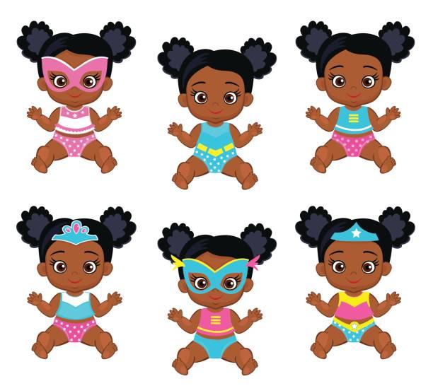 ilustrações de stock, clip art, desenhos animados e ícones de lovely babes girls in a superhero costume. - baby super hero