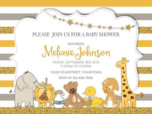 ilustraciones, imágenes clip art, dibujos animados e iconos de stock de plantilla de tarjeta de ducha de bebé precioso con detalles de brillantes oro - baby shower