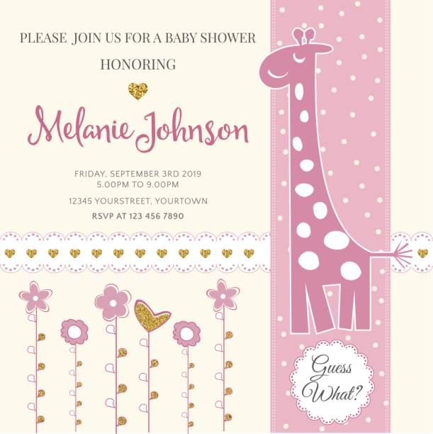 Lovely baby shower card template with golden glittering details Lovely baby shower card template with golden glittering details, vector format baby girls stock illustrations