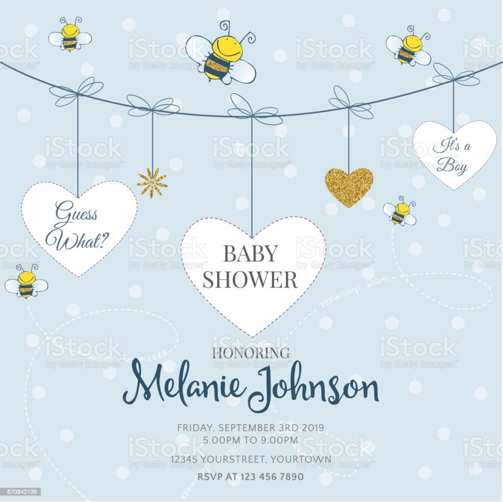 Lovely baby shower card template with golden glittering details vector art illustration