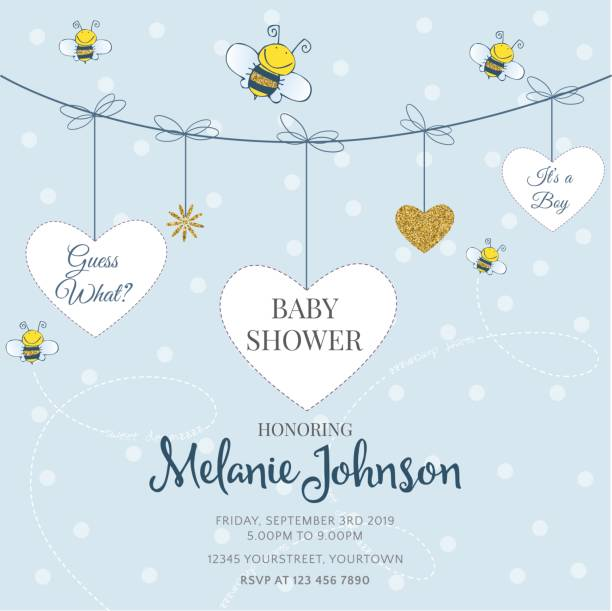 lovely baby shower card template with golden glittering details - baby shower stock illustrations, clip art, cartoons, & icons