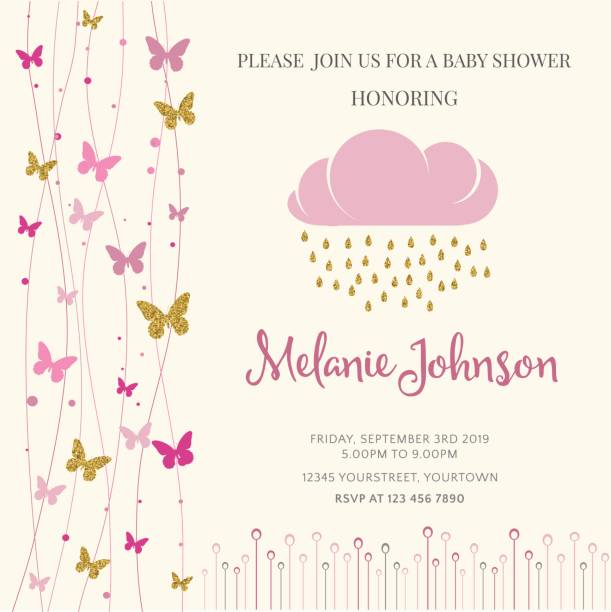 Lovely baby shower card template with golden glittering details Lovely baby shower card template with golden glittering details, vector format baby shower stock illustrations