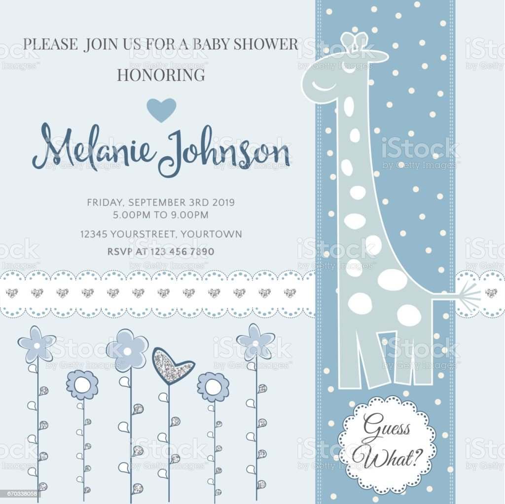 Lovely baby shower card template with silver glittering details vector art illustration