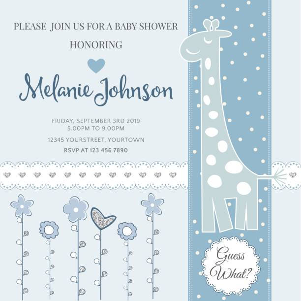 lovely baby shower card template with silver glittering details - baby shower stock illustrations, clip art, cartoons, & icons