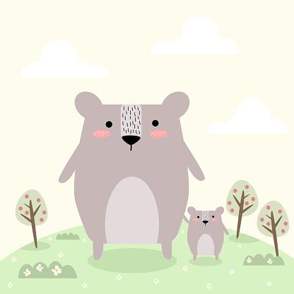 Vetores de Conceito De Urso Pai E Filho Adorável e mais imagens de Adulto